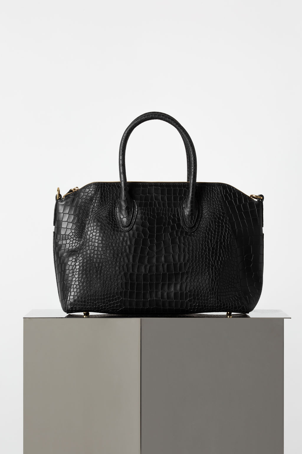 Shaz Tote In Black Embossed Croc Leather