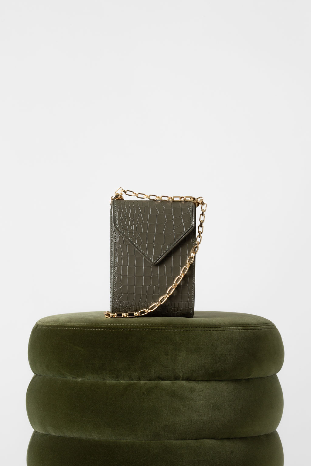 Isabel Phone Pouch In Military Green Croc