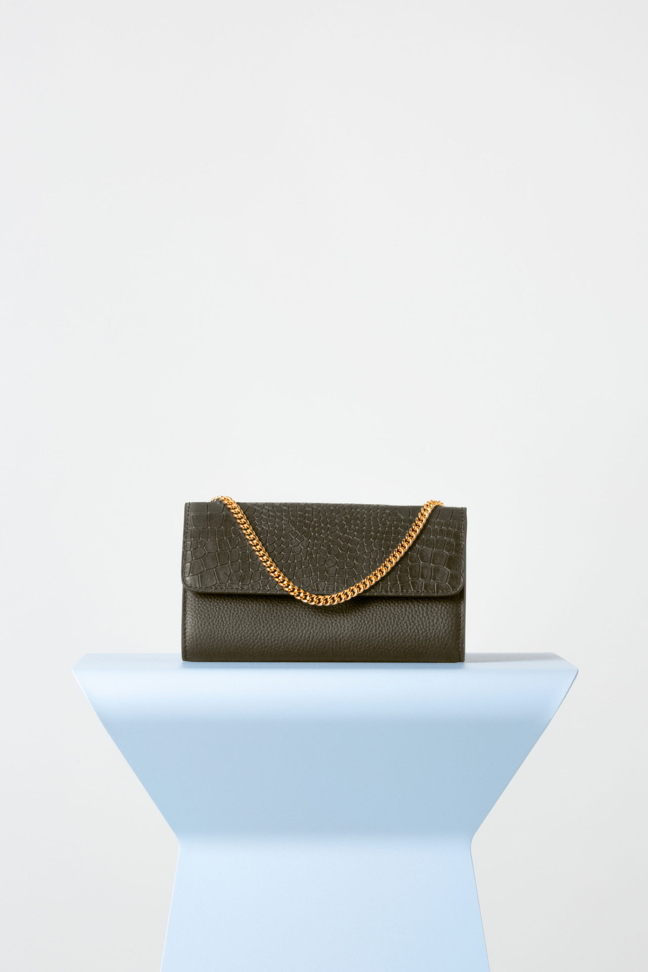 Frankie Evening Bag In Military Green Croc